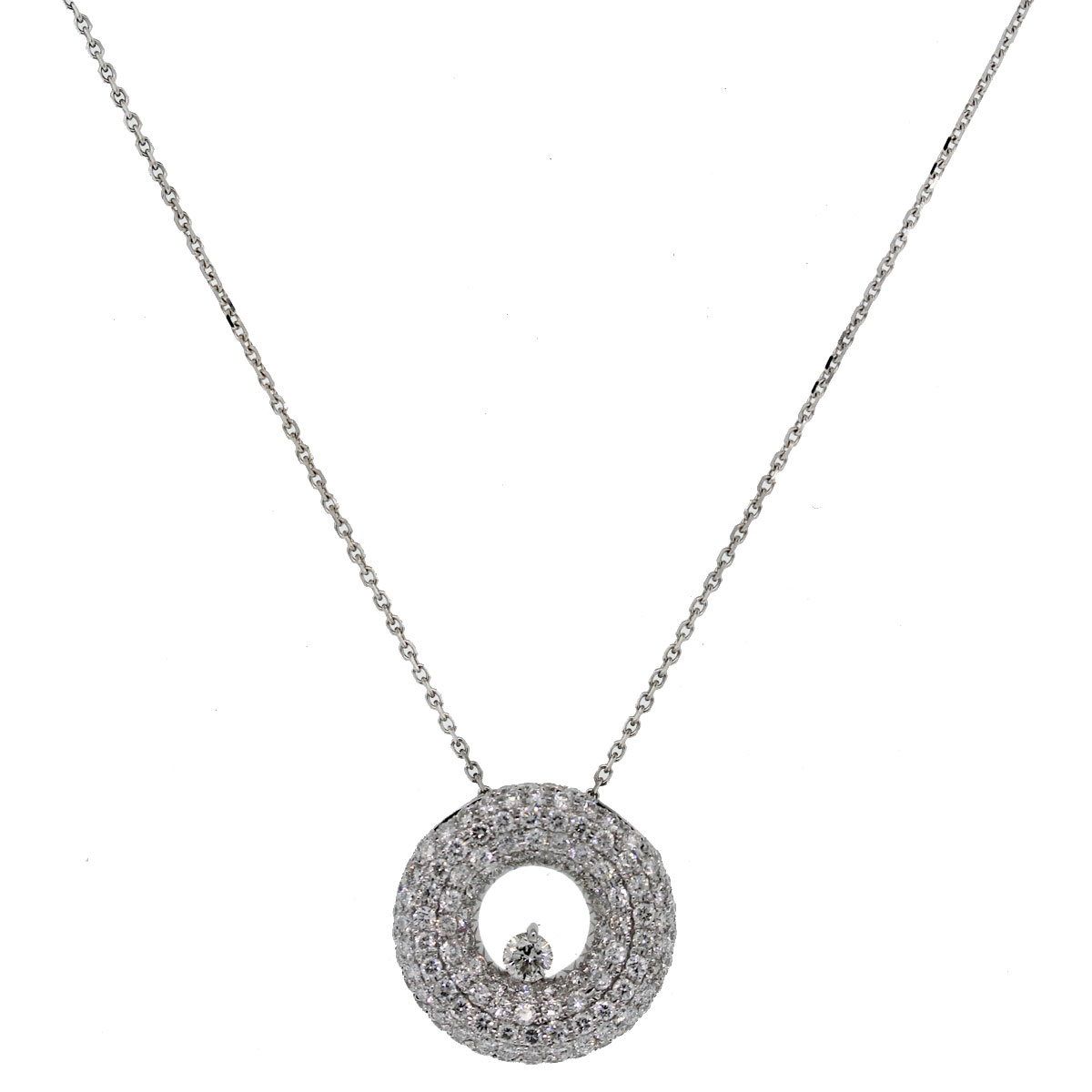 We love this 18kt White Gold Pave Set Diamond Disc Pendant on 14kt White Gold Chain!