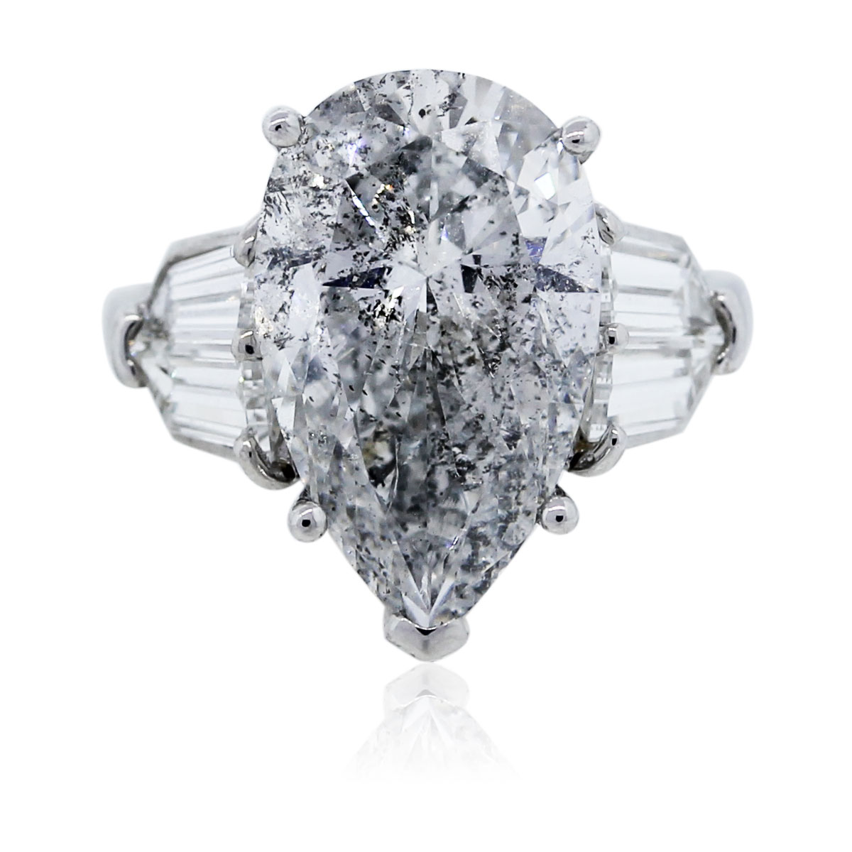 Pear Shaped Diamond Platinum Engagement Ring Egl Certified