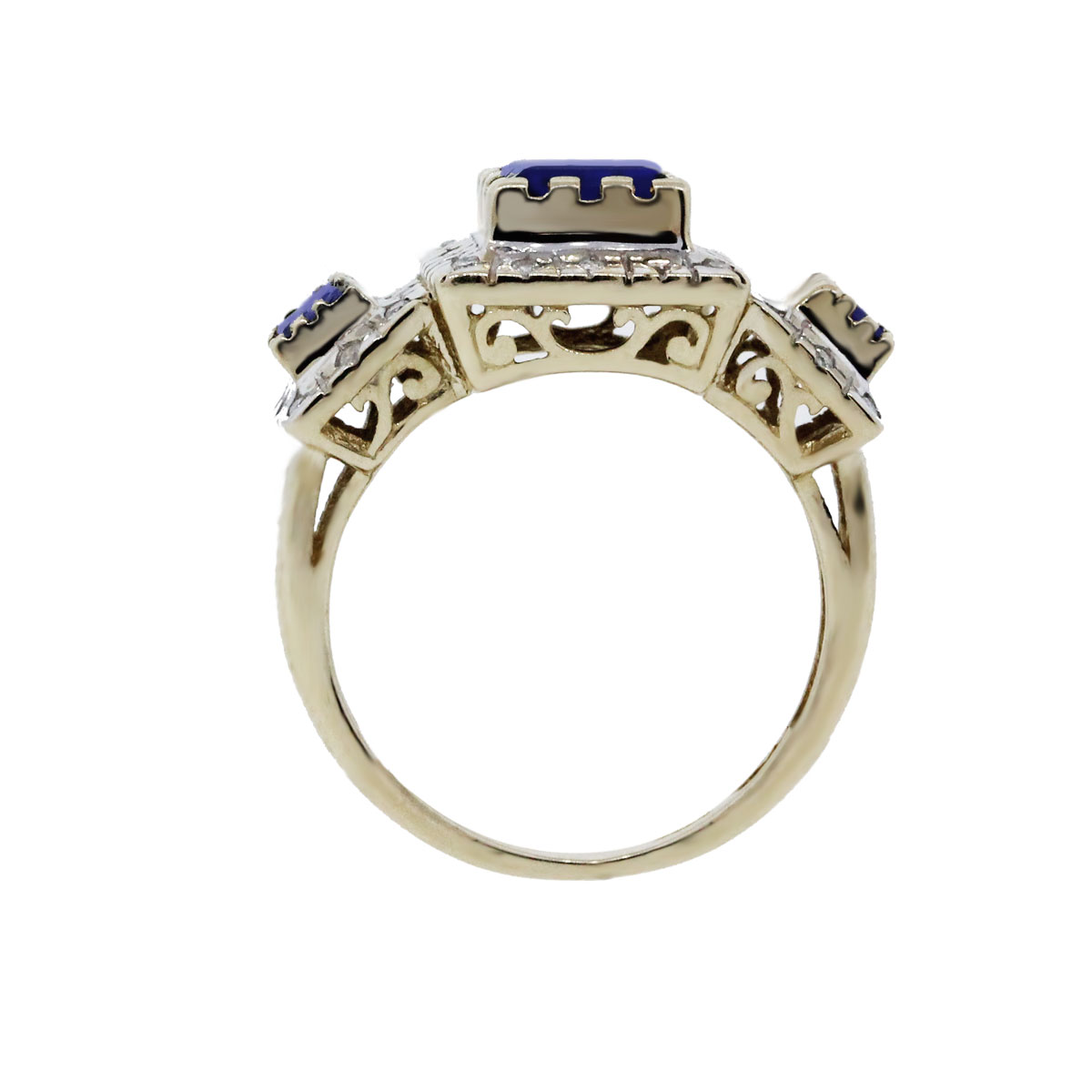 14K Two Tone Gold Blue Sapphire with Diamonds