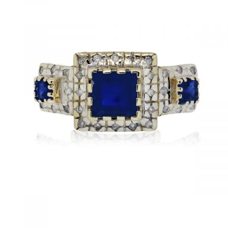 You are viewing this 14K Two Tone Gold Blue Sapphire with Diamonds Men's Ring!
