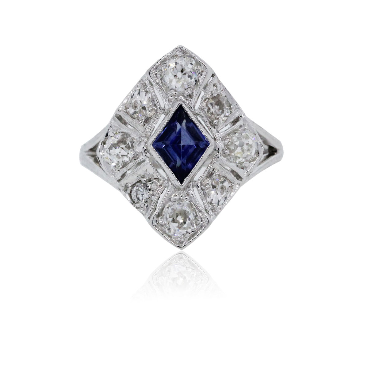 You are viewing this White Gold Sapphire and Diamond Vintage Ring!