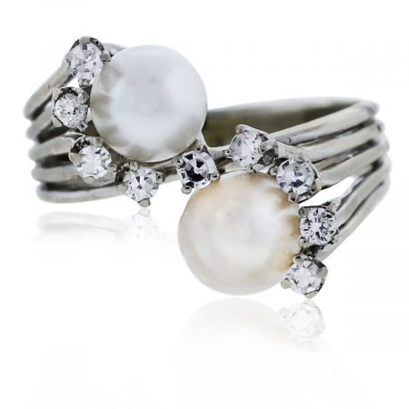 You are viewing this White Gold Double Pearl and Diamond Ring!