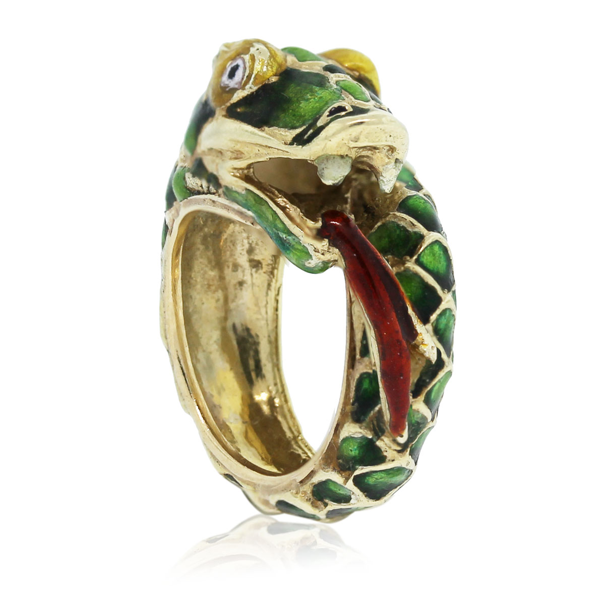 Check out this 14kt Yellow Gold Enamel Dragon Ring