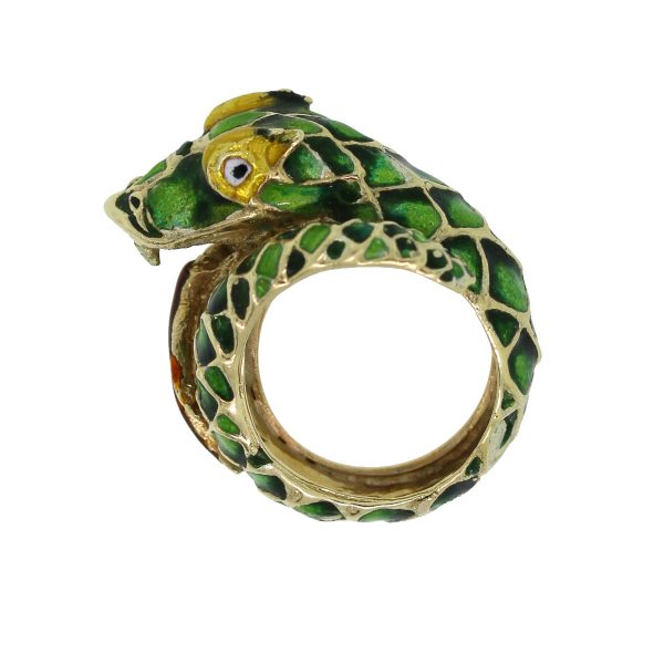 This 14kt Yellow Gold Enamel Dragon Ring is awesome!