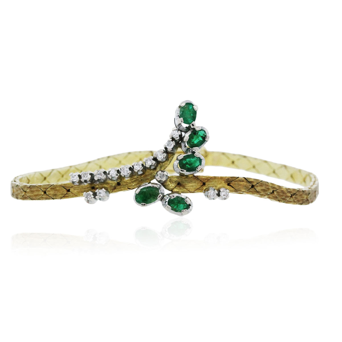 You are viewing this Vintage Yellow Gold Emerald and Diamond Bracelet!