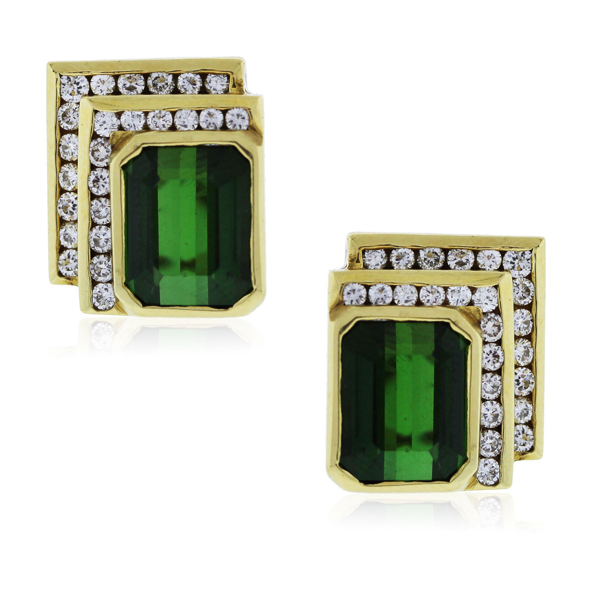 You are viewing these Yellow Gold Green Tourmaline and Diamond Earrings