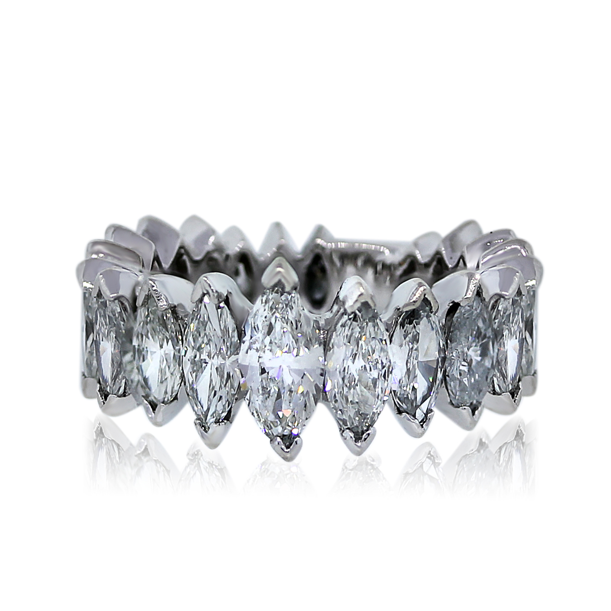 Platinum Marquise Cut 4 Ctw Diamond Eternity Band Ring ...