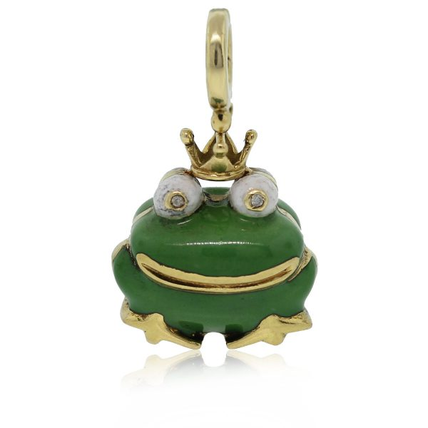 Check out this 14kt Yellow Gold Enamel Frog Charm Pendant