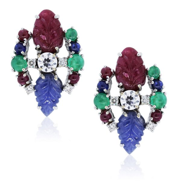 You are viewing these White Gold Diamond and Gemstone Earrings!