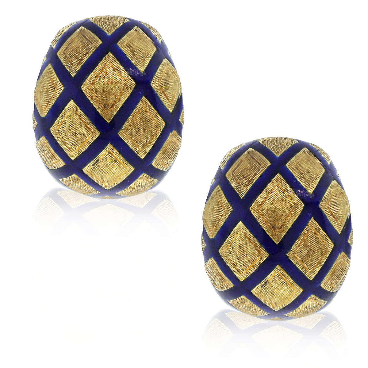 Check out these 18kt Textured Yellow Gold Blue Enamel Earrings