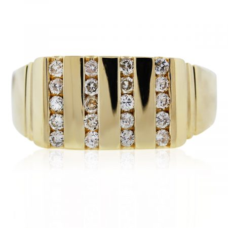 You are viewing this Yellow Gold Channelset Diamond Mens Ring!
