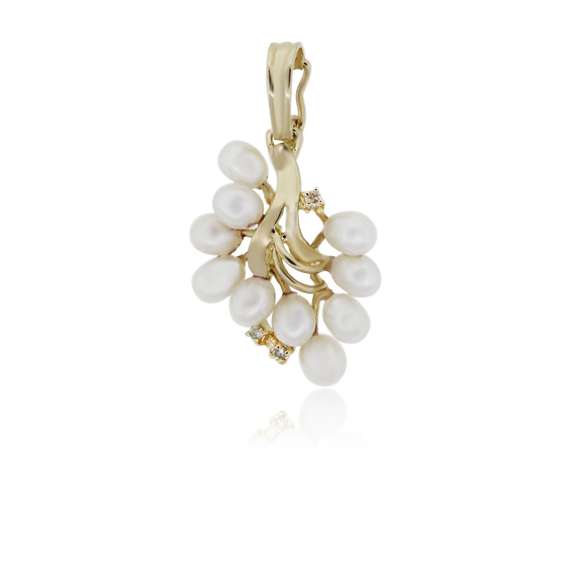 You are viewing this 14K Yellow Gold Multi Pearl with Diamonds Slide Pendant!