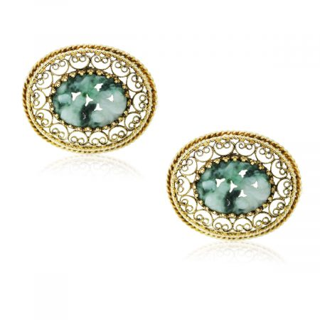 You are viewing these 14K Yellow Gold and Jade Mens Cufflinks!