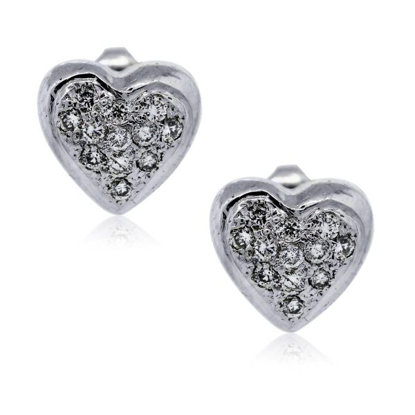 You are viewing these White Gold Diamond Heart Stud Earrings!