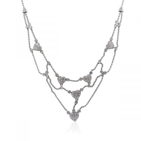 You are viewing this White Gold Diamond Heart Cluster Necklace!