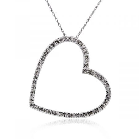 You are viewing this White Gold Diamond Heart Pendant Necklace!
