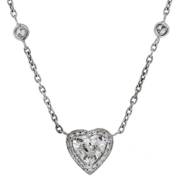 Check out this gorgeous diamonds by the yard heart shape diamond necklace