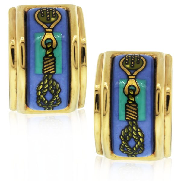 These Hermes Twisted Rope Enamel Gold Plated Earrings are beautiful