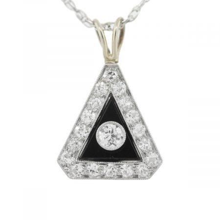 Vintage You are viewing this Diamond, Onyx 14k White Gold Pendant and Chain Necklace!