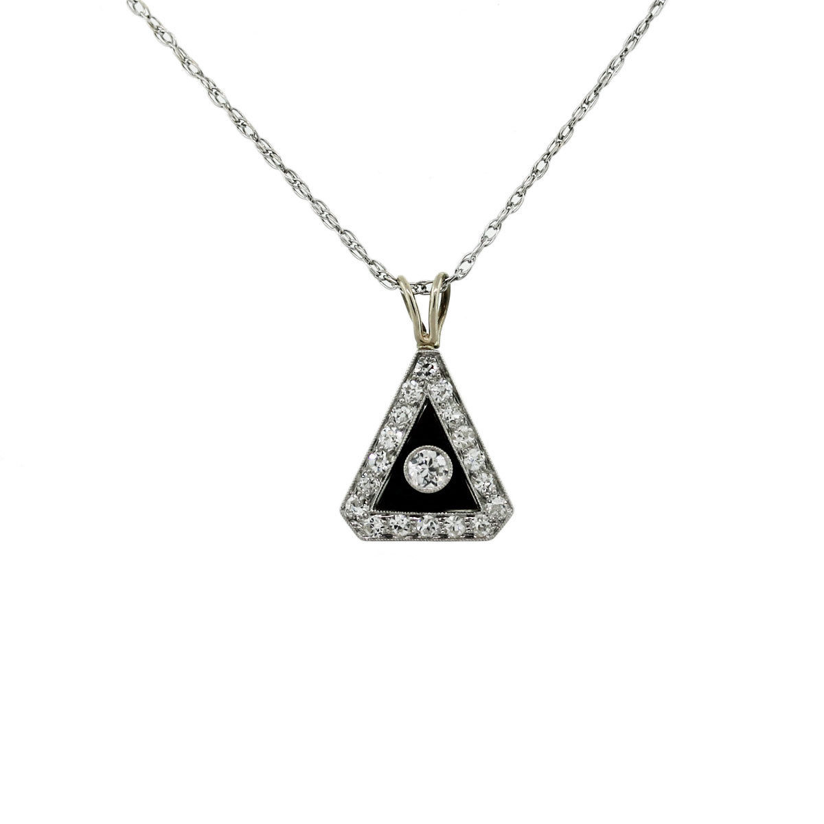 Onyx 14k White Gold Pendant and Chain Necklace