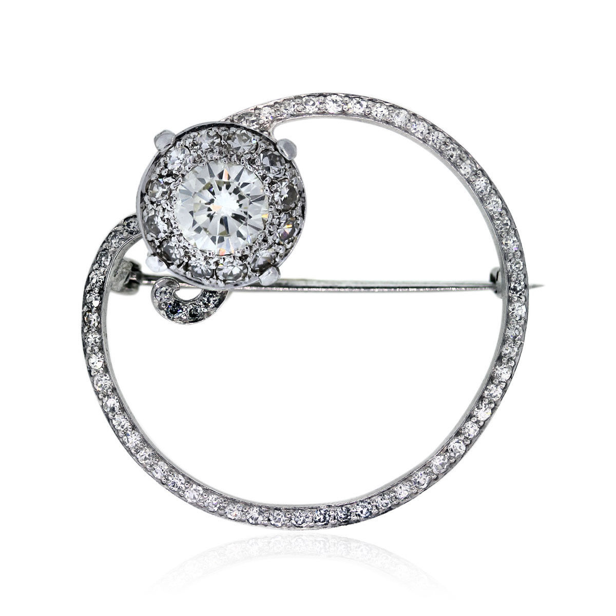 You are viewing this Vintage Style Platinum 2.25 ctw Round Diamond Pin!