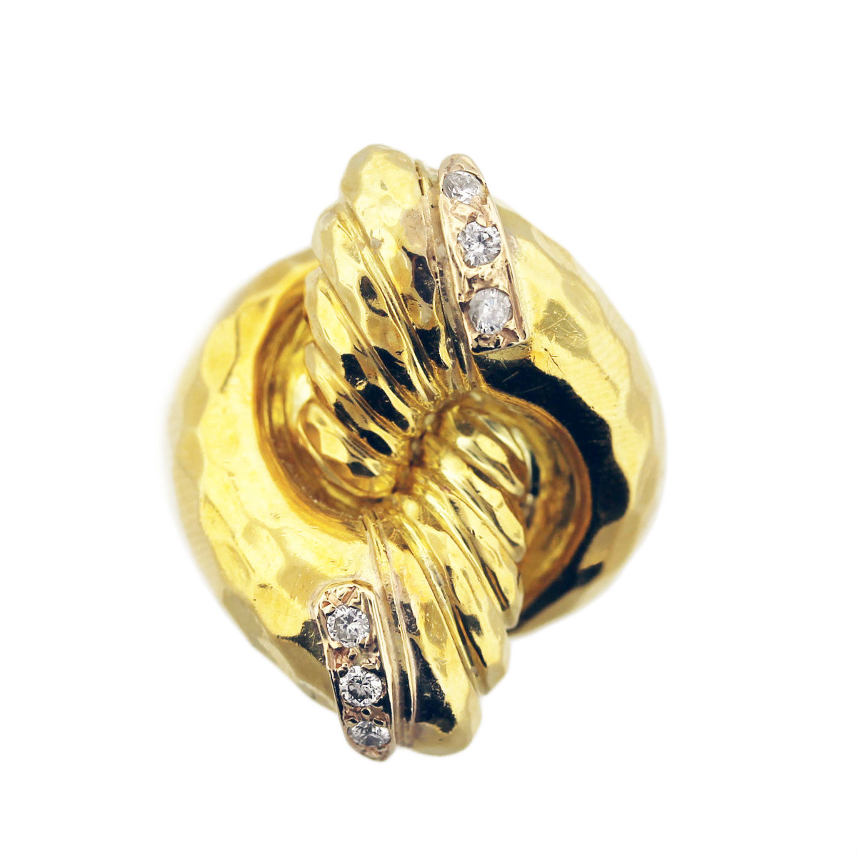You are viewing this Henry Dunay 18K Yellow Gold Geometric Ring with Diamonds!