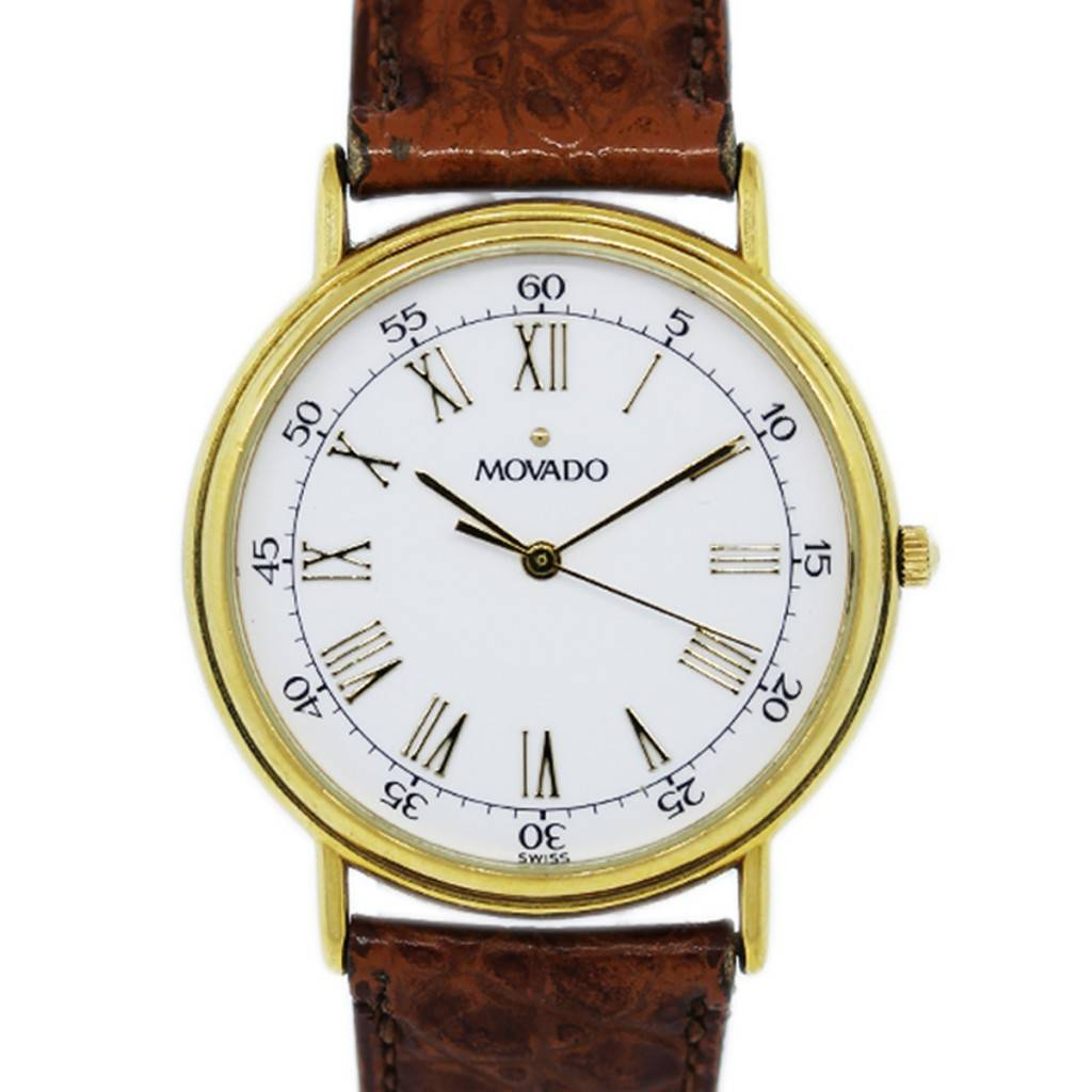Movado Gold Plated 87-59-885 Vintage Mens Wristwatch-Boca ...