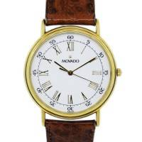 Movado Gold Plated 87-59-885 Vintage Mens Wristwatch
