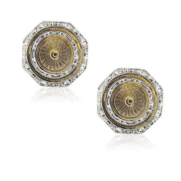 You are viewing these 14k Two Tone Octagon Shaped Mens Cufflinks!