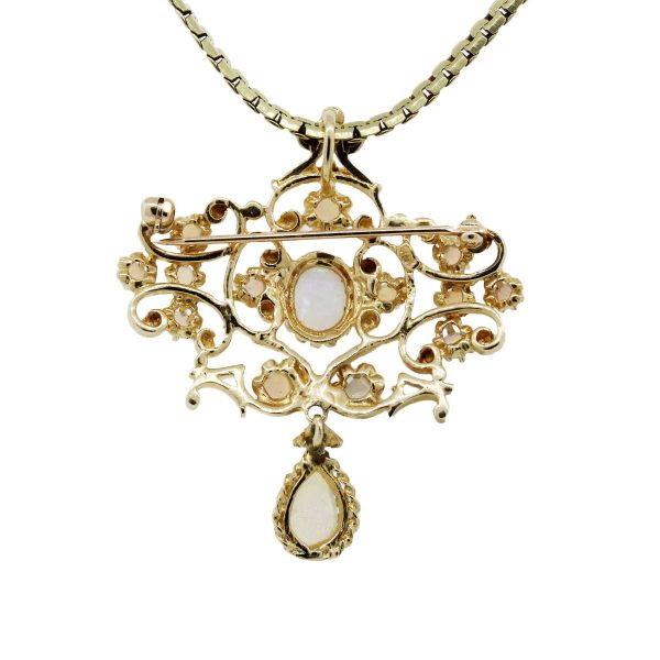 Yellow Gold Opal Pendant Necklace