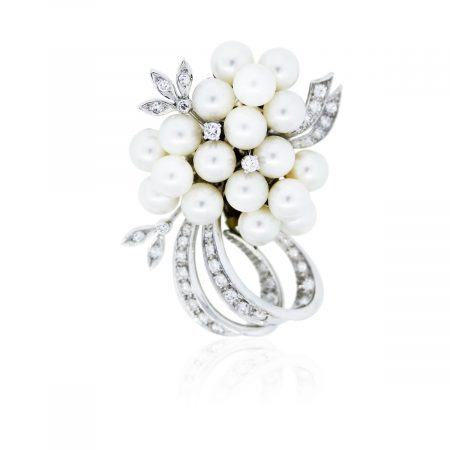 You are viewing this 14k White Gold, Diamonds and Pearls Pin!