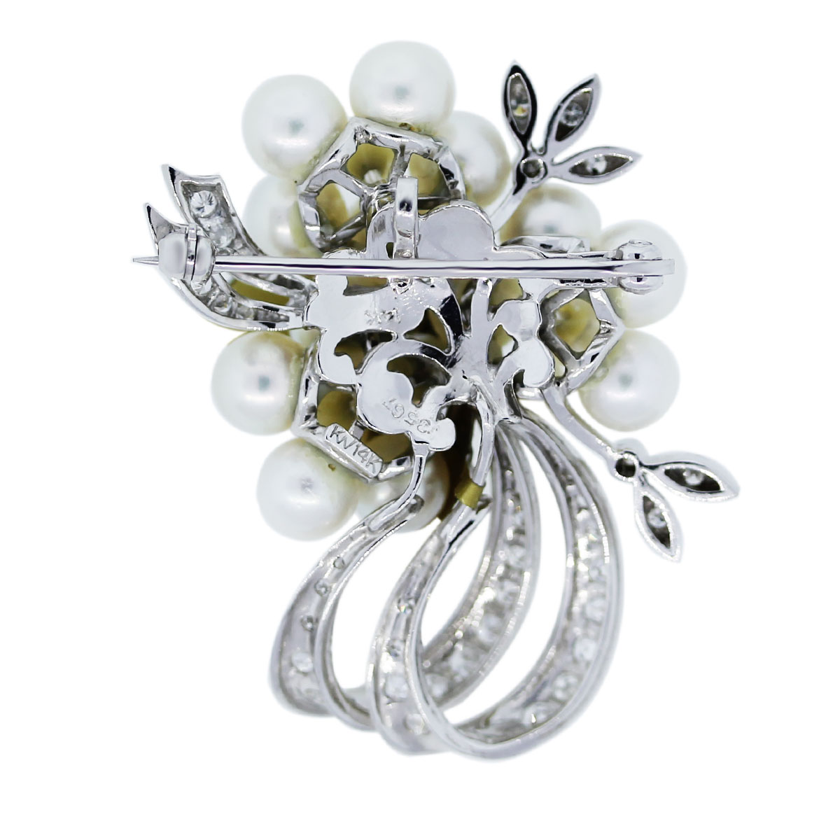 White Gold Diamonds and Pearls Pin