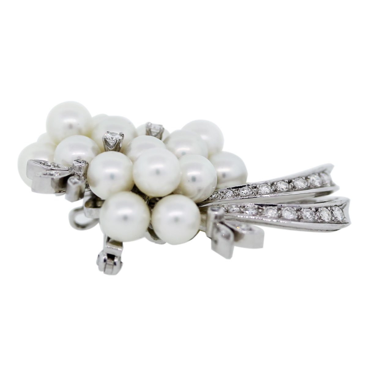 14k White Gold Diamonds and Pearls