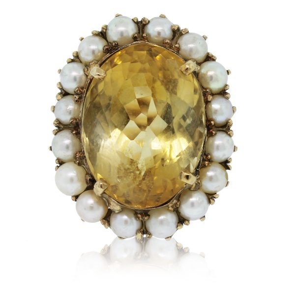 Check out this gorgeous 14k Yellow Gold Citrine and Pearl Floral Cluster Ring