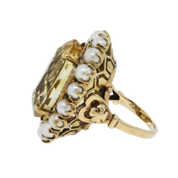 Take a look at this 14k Yellow Gold Citrine and Pearl Floral Cluster Ring