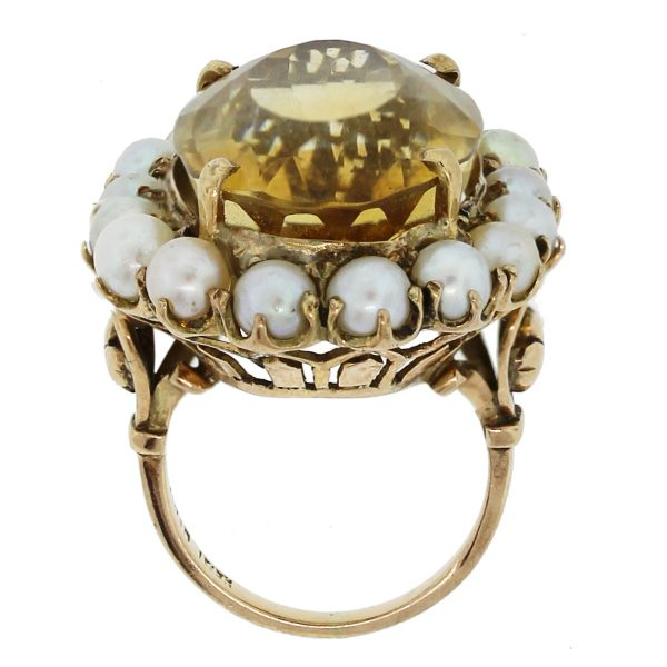 We love this 14k Yellow Gold Citrine and Pearl Floral Cluster Ring