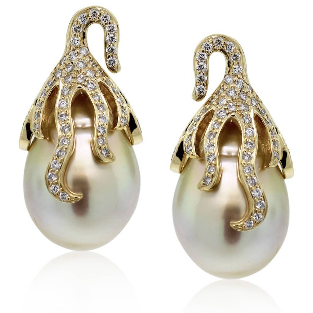 9a617cea4 18k Yellow Gold South Sea Pearl & Diamond Cluster Earrings