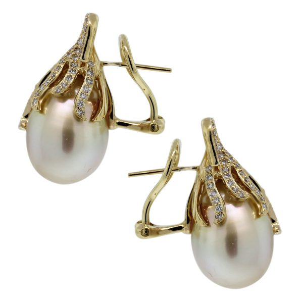 Take a look at these beautiful 18k White Gold South Sea Pearl & Diamond Cluster Earrings