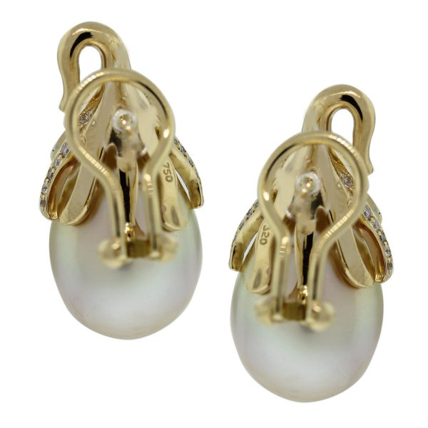 These 18k White Gold South Sea Pearl & Diamond Cluster Earrings are beautiful
