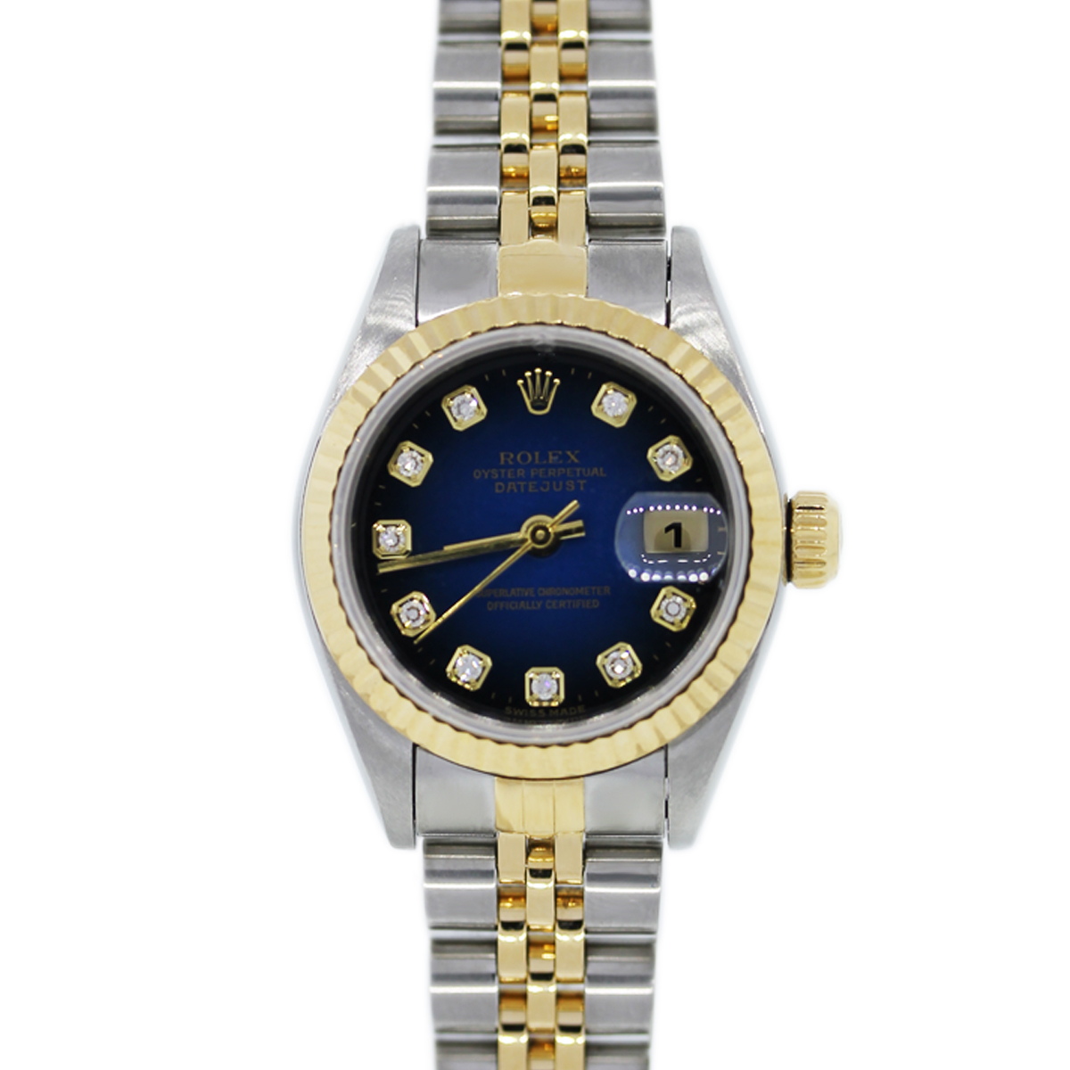 You are viewing this Rolex Datejust Two Tone Blue Dial Ladies Watch!