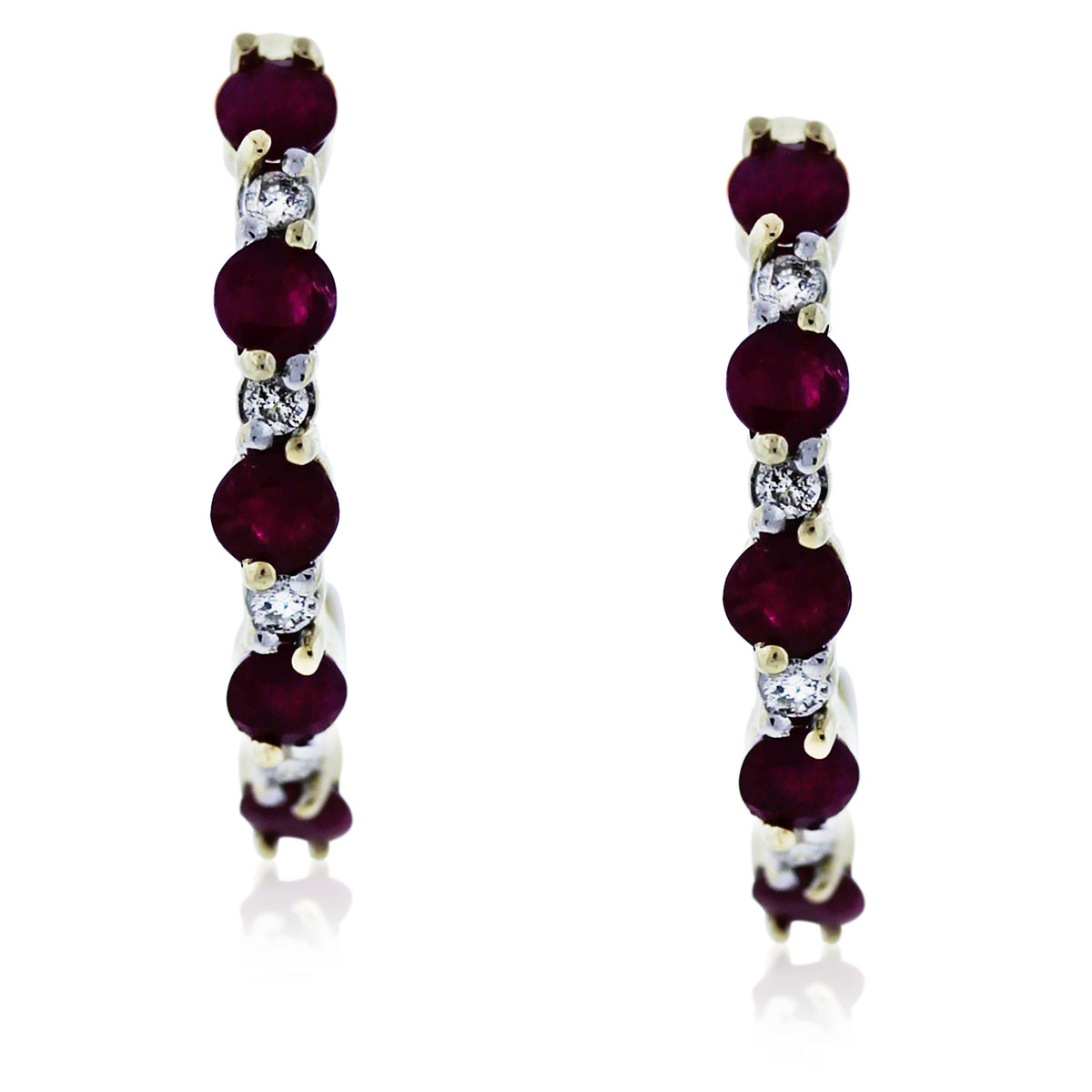 You are viewing these Yellow Gold Diamond and Ruby Dangle Earrings!
