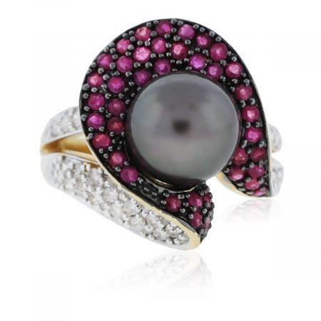 You are veiwing this Yellow Gold Diamond, Ruby and Tahitian Pearl Ring!