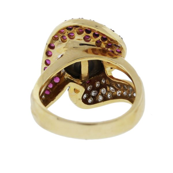 Pearl Ring with Diamonds and Rubies