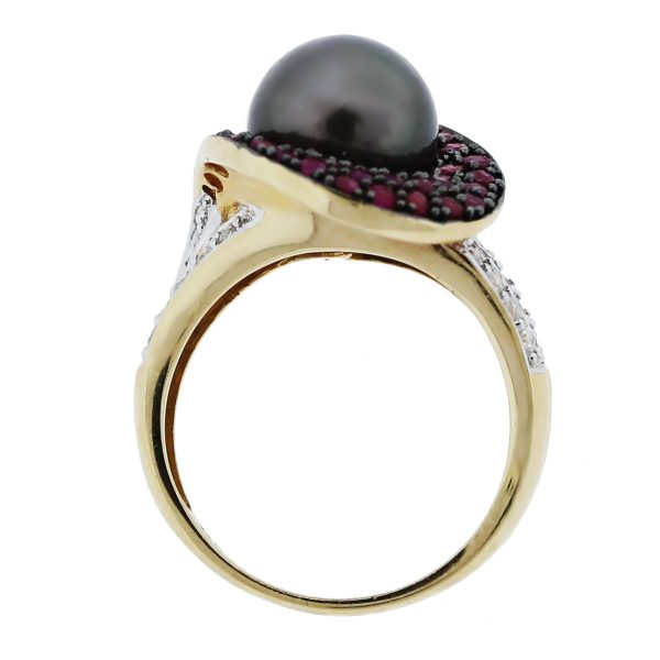 Tahitian Pearl Ring with Rubys and Diamonds