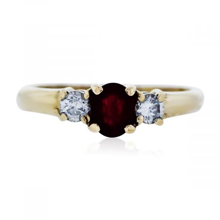 You are viewing this Yellow Gold Ruby Ring with Diamond Accents!