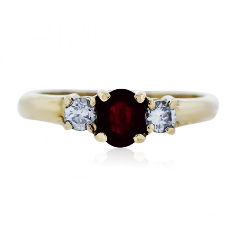 14k Yellow Gold Ruby Ring with Diamond Accents