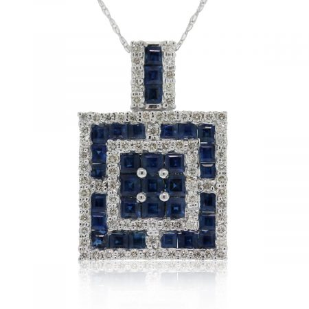 This 18k Sapphire & Diamond Square Pendant on 10k White Gold Chain is beautiful!
