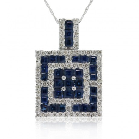 18k Sapphire & Diamond Square Pendant on 10k White Gold Chain