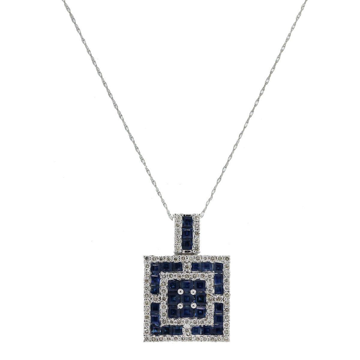 Check out this 18k Sapphire & Diamond Square Pendant on 10k White Gold Chain