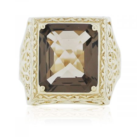 You are viewing this Yellow Gold Square Smokey Quartz Ring!
